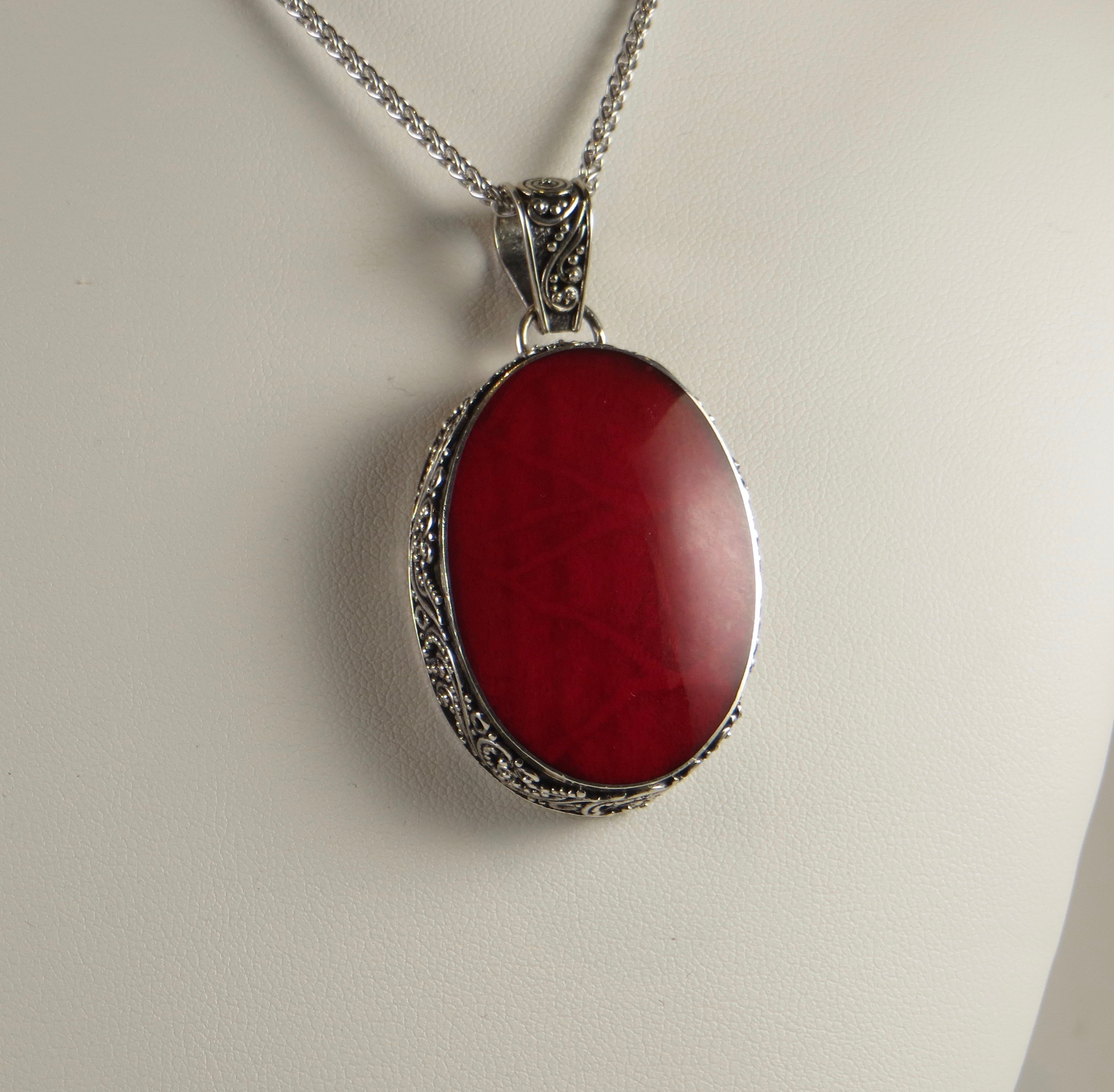 genuine pendant red coral from mexico sterling silver silverbestbuy
