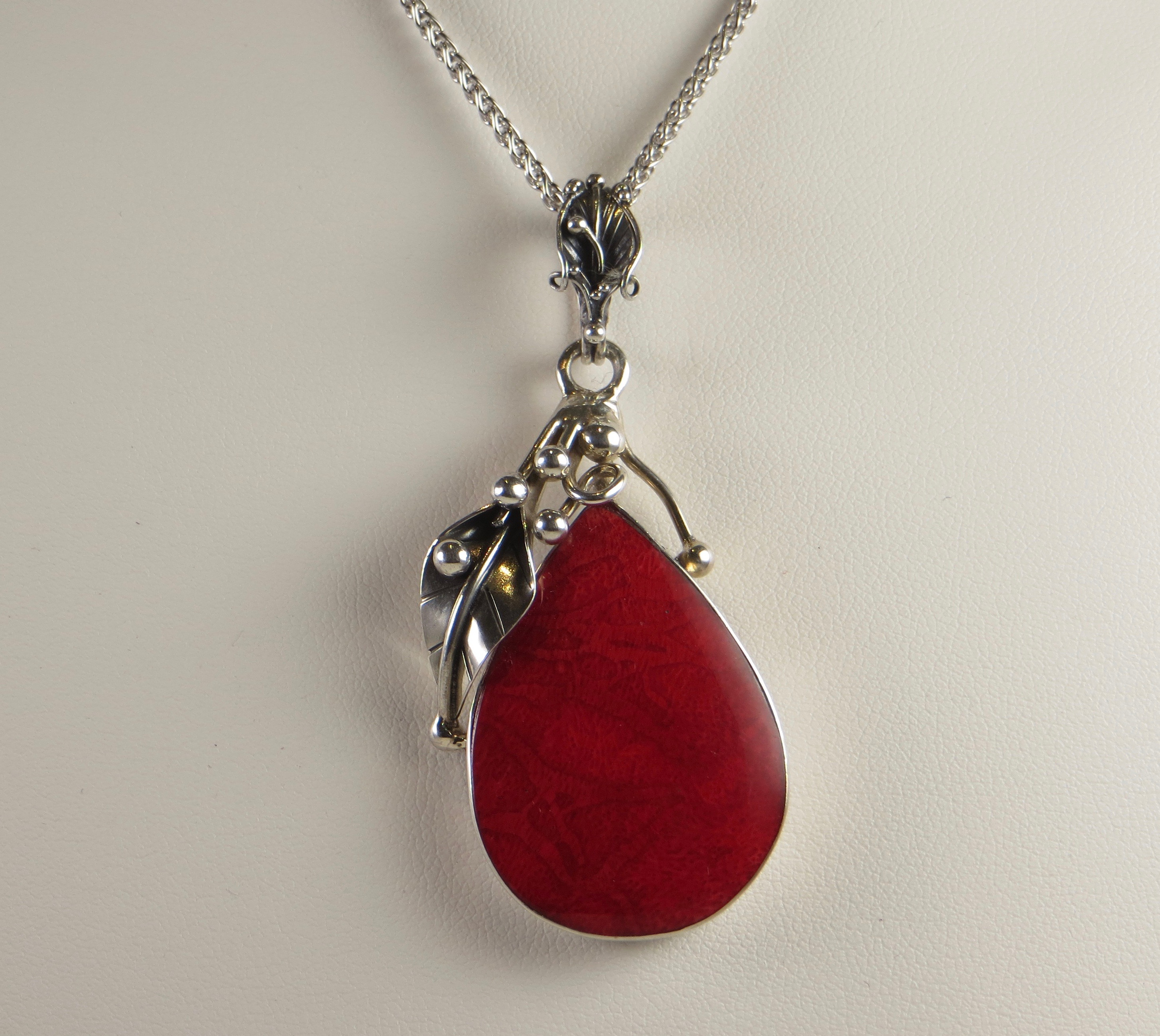 artisan pendant buy com full pendants bezel set at chain coral square red silver online